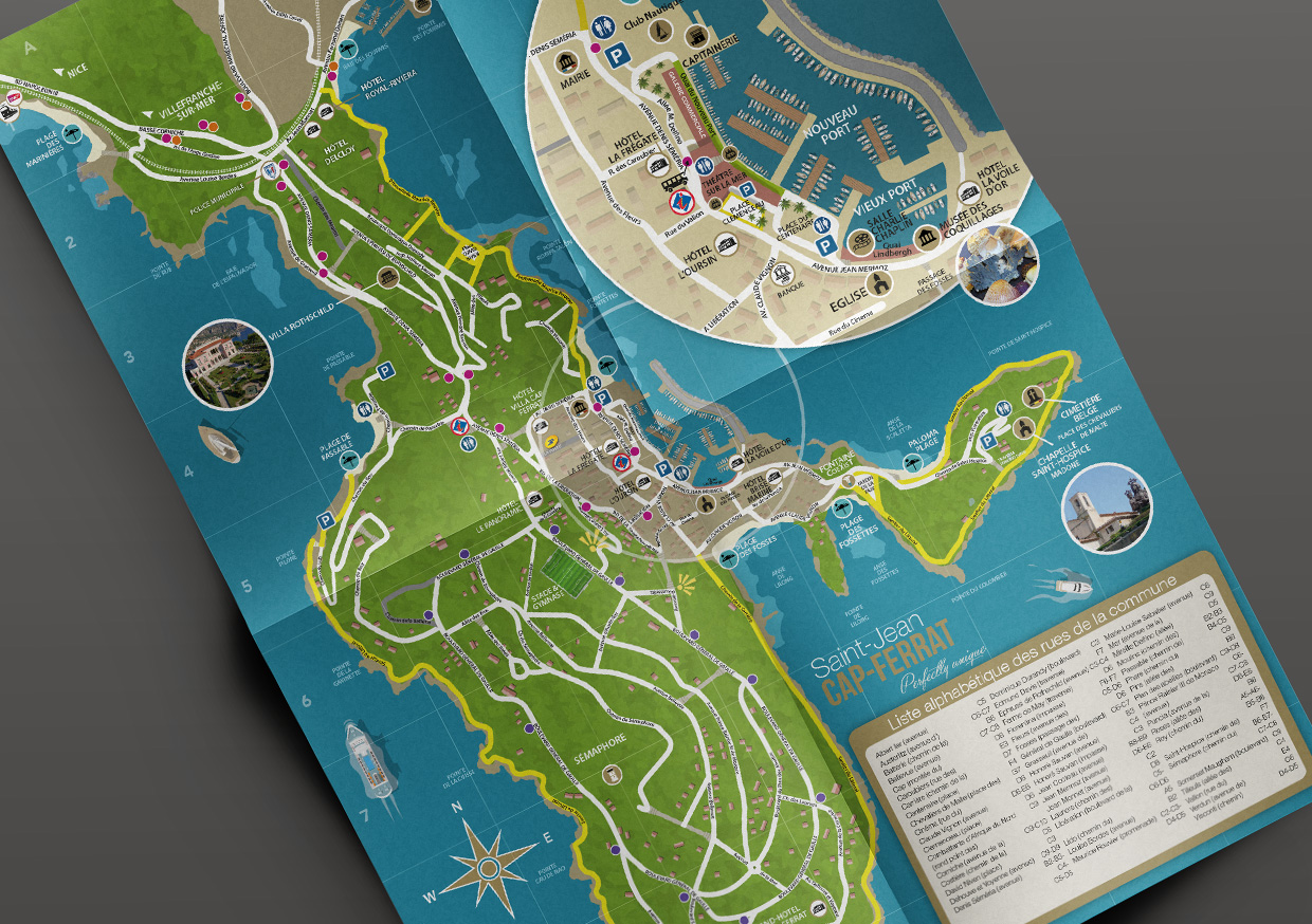 Cr ation illustration plan de ville saint jean cap - Office de tourisme saint jean cap ferrat ...