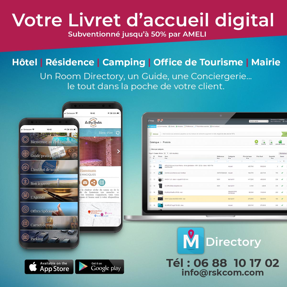 room directory digital mobile livret d'accueil